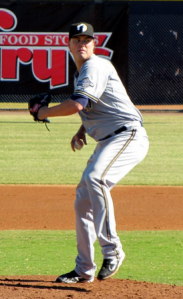 Nelson pitching in the Arizona Fall League this past fall