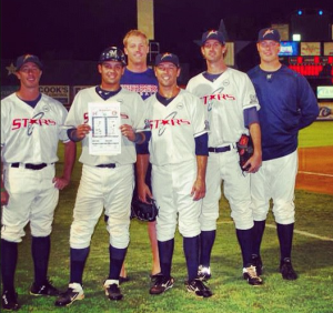 Nelson (far right) contributed to a combined no-hitter on August 2, 2012